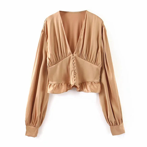 Satin V-neck Button Front Ruched Ruffle Trim Blouse gallery 3