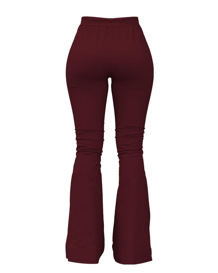 Solid Cut Out High Waist Flare Pants gallery 8