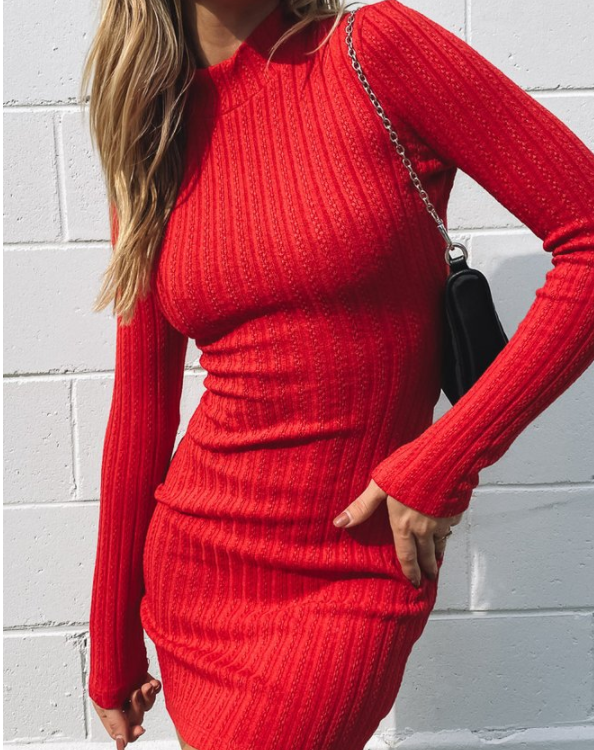 Rib-Knit Criss Cross Backless Long Sleeve Mini Dress
