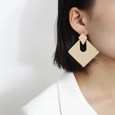 Gold Square Shape Cut Out Drop Earrings gallery 2