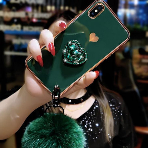 Electroplate Heart Rhinestone Phone Case for Samsung with Phone Holder and Pom-pom gallery 2