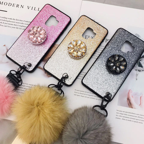 Gradient Shining Phone Case for Samsung with Phone Holder and Pom-pom gallery 7