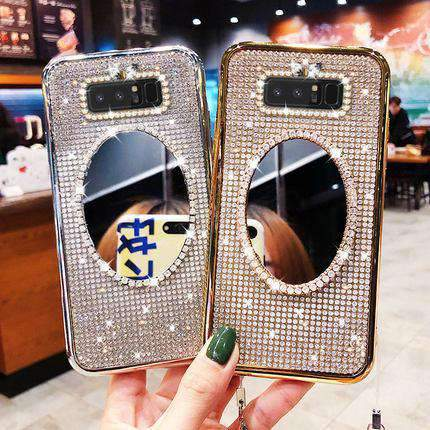 Electroplated Artificial Rhinestone Diamond Samsung Case with Mirror