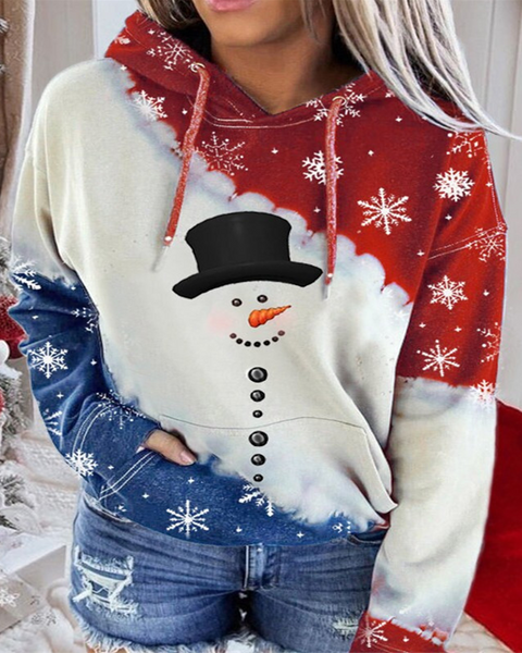Christmas Colorblock Multi Print Pouch Pockets Hoodies