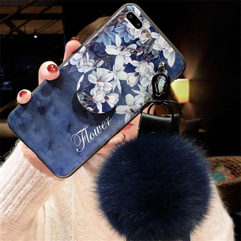 Retro Flower Printing iPhone Case with Phone Holder and Pom-pom