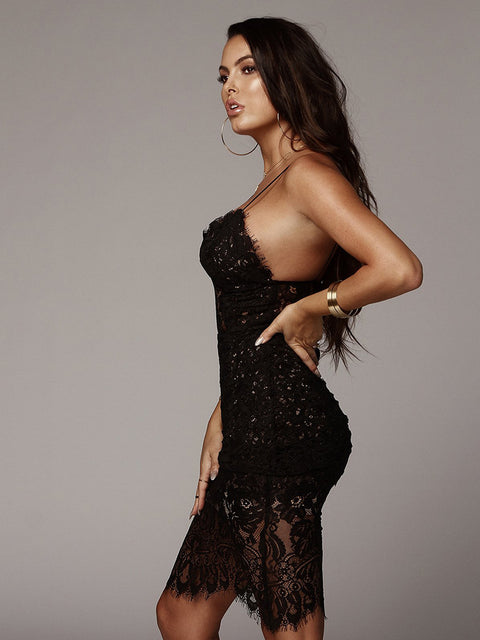 Sexy V-neck Lace See Through Midi Dress gallery 15