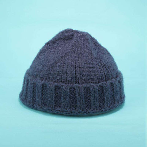 Solid-color Stitch Knit Beanie Hat gallery 4