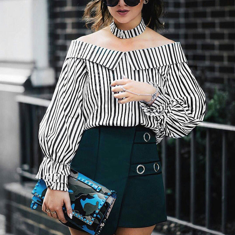 Long Bell Sleeve Off-the-shoulder Striped Shirt