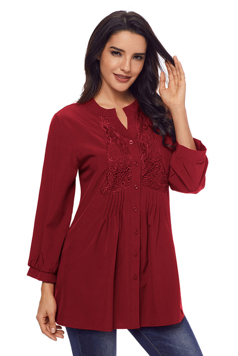 Wine Lace and Pleated Detail Button up Blouse gallery 3