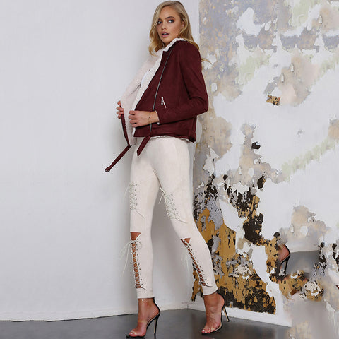 Lace-up Suede Skinny Leggings