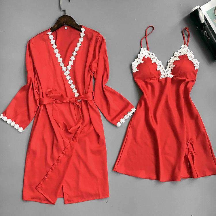 Satin Thin Breathable Nightdress and Robe Set