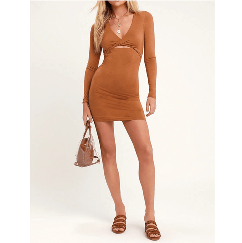 2 Colors V-Neck Cut Out Front Wrap Skinny Dress