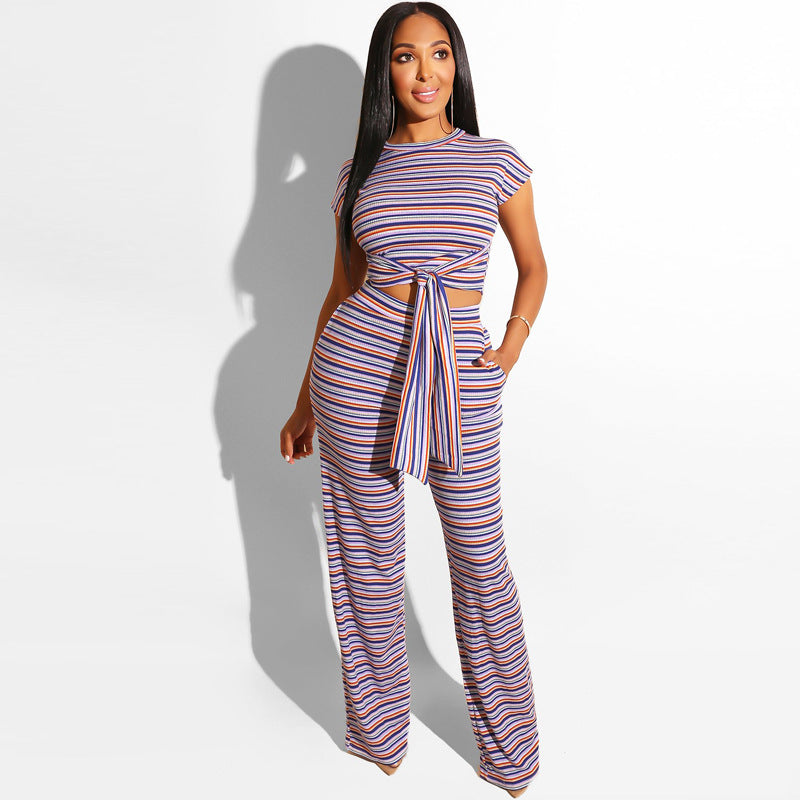 Stripe Print Tied Front Wide Leg Cropped Top & Pant Set