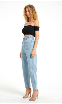 Elastic Waistband High Rise Ankle Jeans