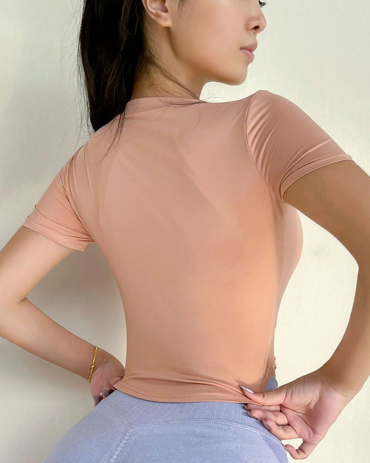 Letter Print Round Neck Crop Sports Top gallery 7