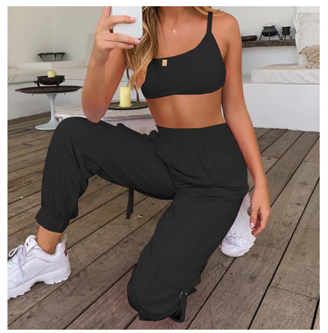 Strappy Back High Waist Pocket Detail Camisole & Pants Set gallery 10