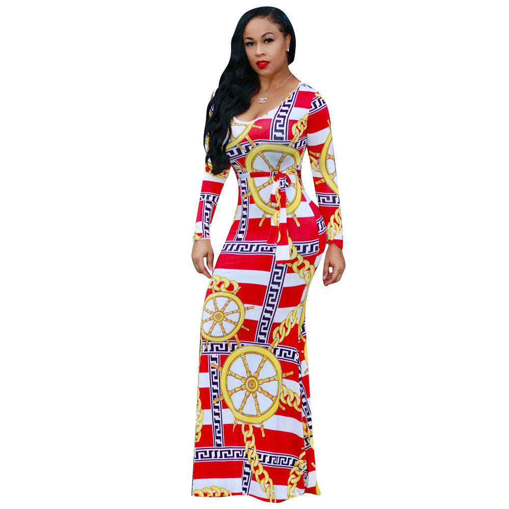 Allover Print Scoop Neck Tie Waist Maxi Dress