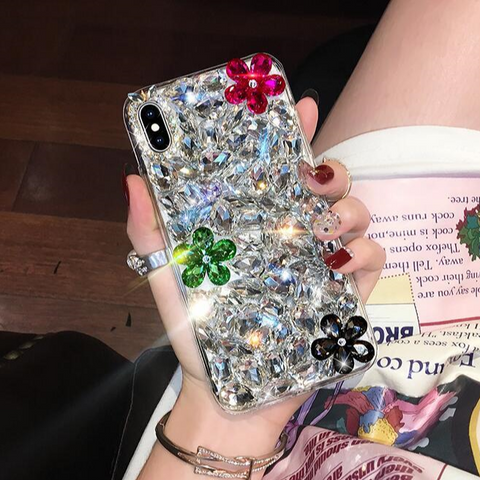 Glittering Floral Rhinestone Phone Case for Samsung gallery 2