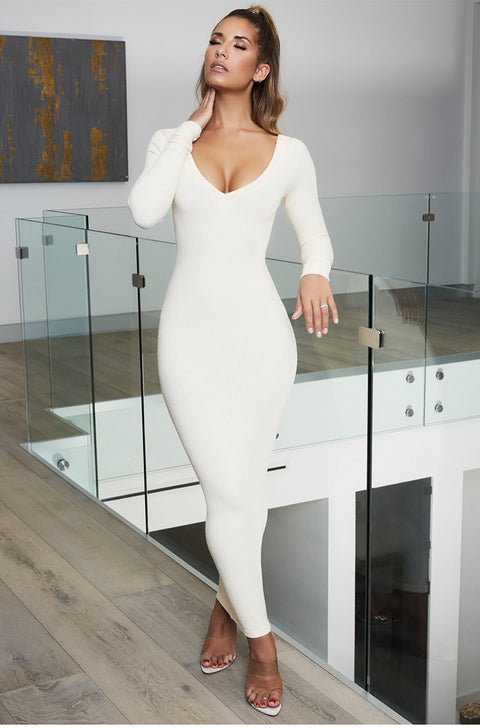 Soft Ribbed White Off Shoulder Jersey Midi Dress gallery 3
