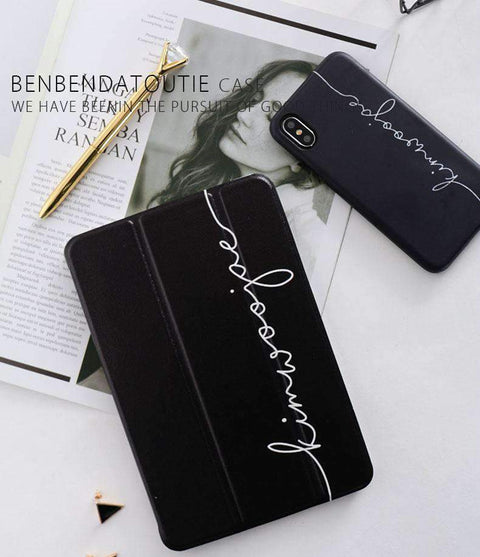 Contracted Literary Letter Printed Apple iPad Cover Case gallery 2