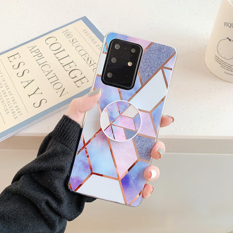Marble Electroplated Detail Phone Case for Samsung with Phone Holder gallery 9