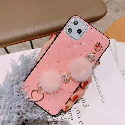 PU Leather Rhinestone Deco Phone Case for Samsung with Wrist Strap gallery 1