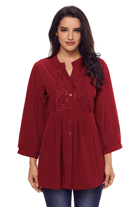 Wine Lace and Pleated Detail Button up Blouse gallery 1