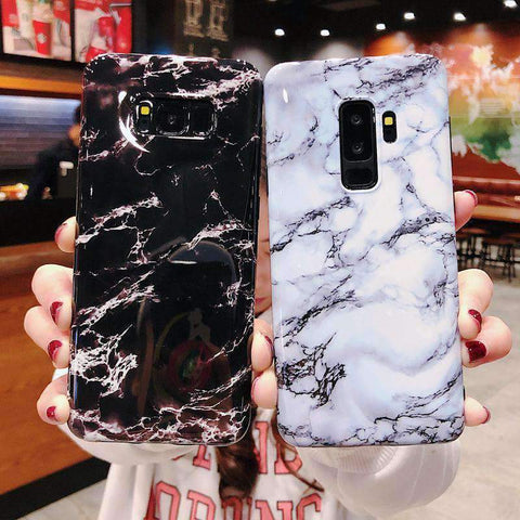 Anti-Fall Black&White Marble Phone Case for Samsung gallery 13