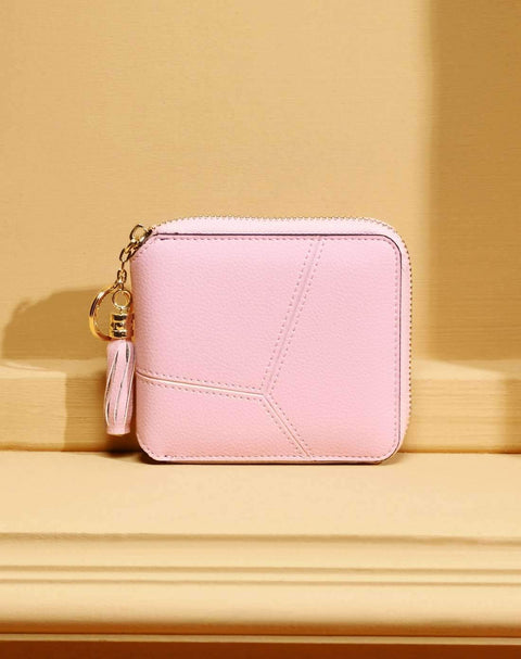 All-Match Pink Cow Leather Short Sized Minimalism Wallet With Zipper gallery 6