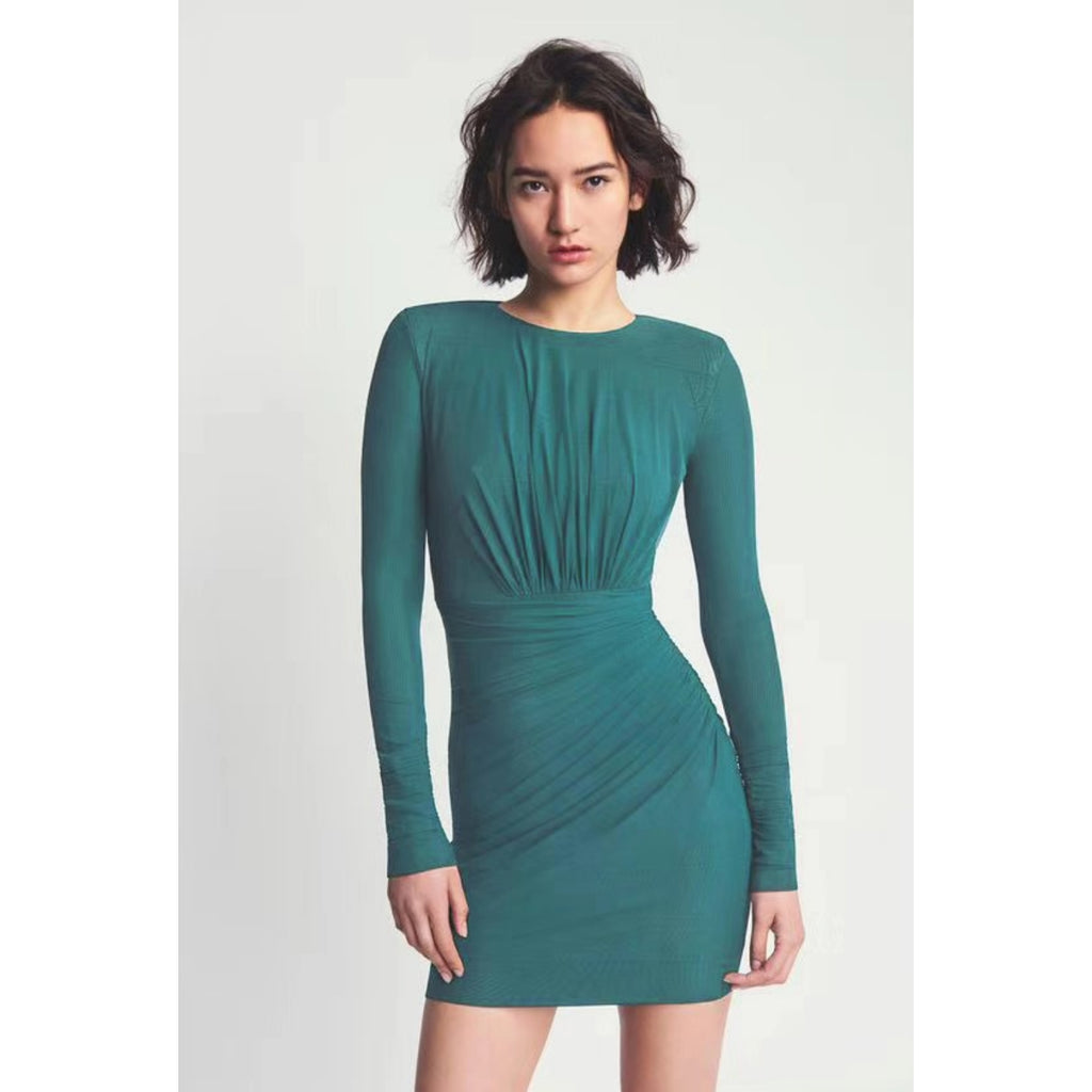 Stylish Round Neck Long Sleeve Dark Green Wrap Dress