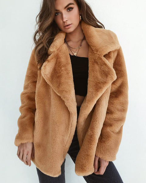 Lapel Neck Solid Fluffy Coat