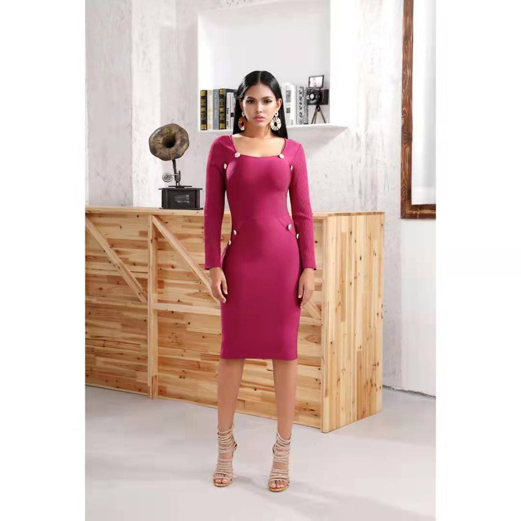 Stylish Long Sleeve Square Neck Back Zipper Midi Dress