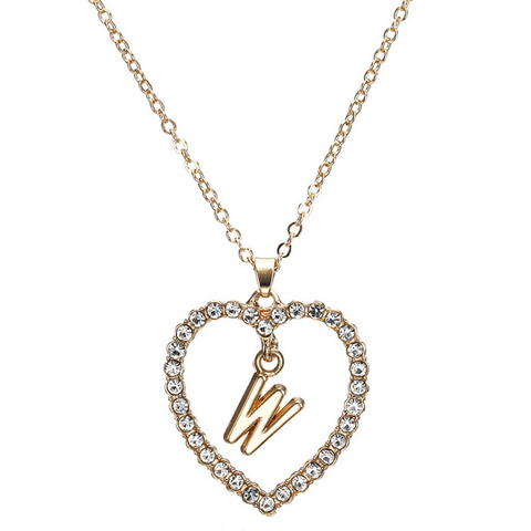 Gold Diamante Heart Shape Initial Pendant Necklace gallery 24