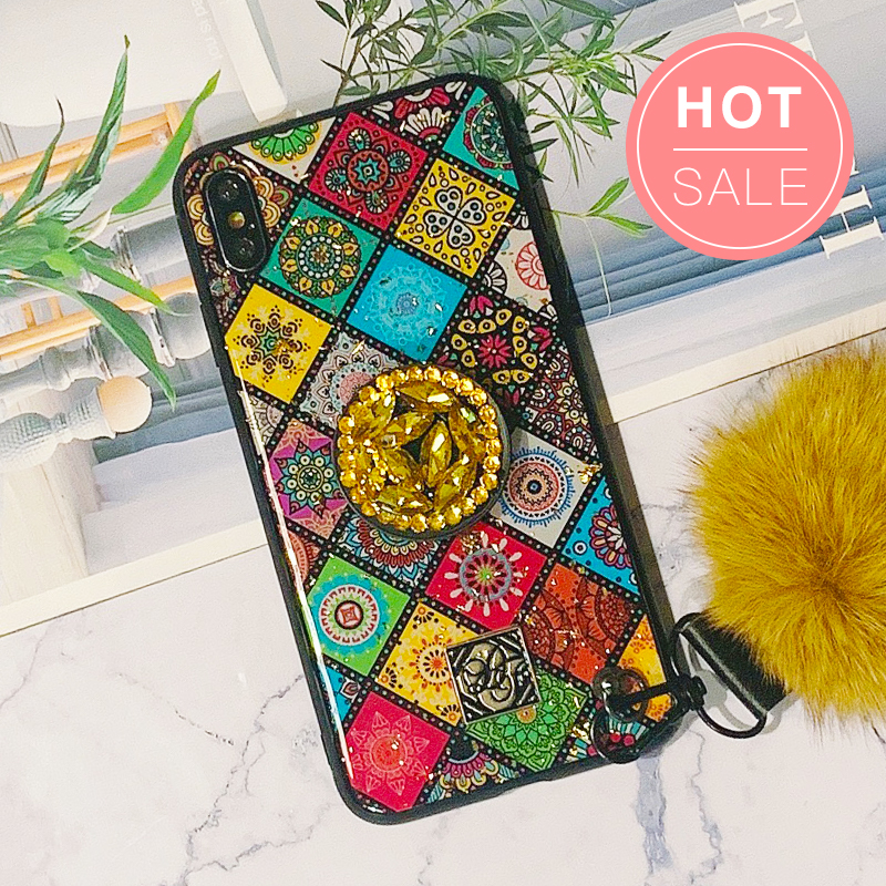 Glittery Diamond-Shaped Pattern iPhone Case with Phone Holder and Pom-pom
