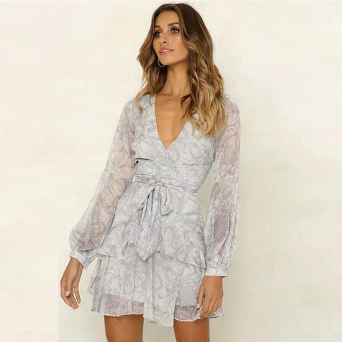 Wrap Floral Print Balloon Sleeve Tied Waist Ruffle Dress
