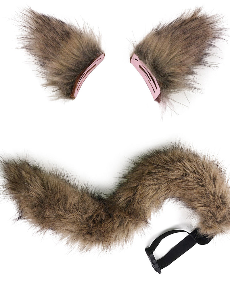 Fuzzy Halloween Fox Ear & Tail Costume Set