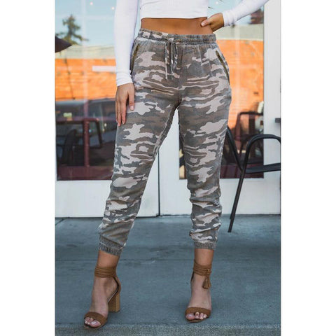 Camo Print High Rise Cropped Jeans