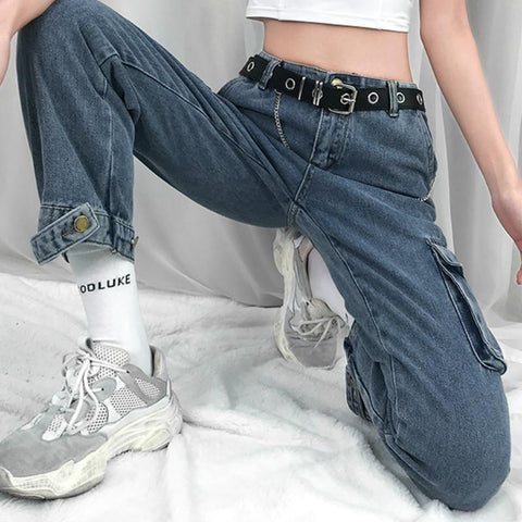 Ankle Length Straight Leg Jeans With Pockets