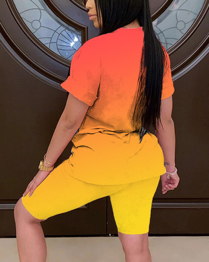 Ombre Short Sleeve Top & Shorts Set gallery 5