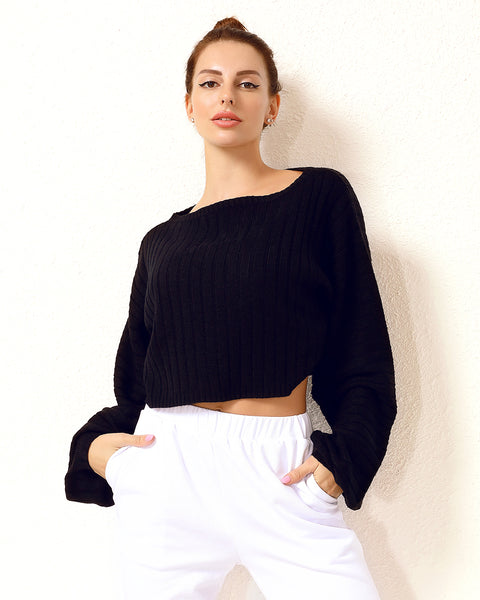 Lantern Sleeve Rib-Knit Crop Sweater