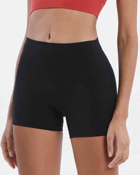 Solid High Waist Sports Shorts gallery 2