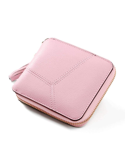 All-Match Pink Cow Leather Short Sized Minimalism Wallet With Zipper gallery 3