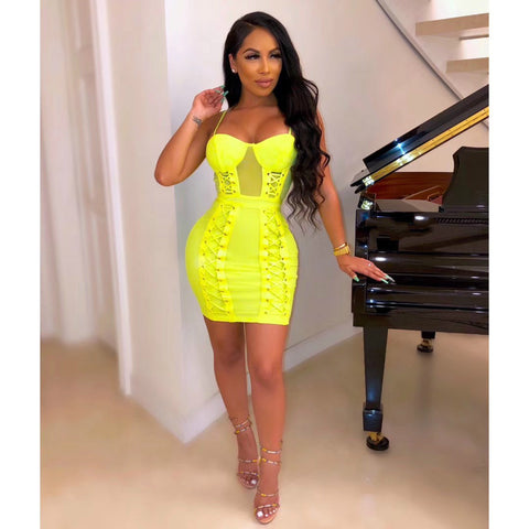 Neon Color Lace Up Bodycon Dress