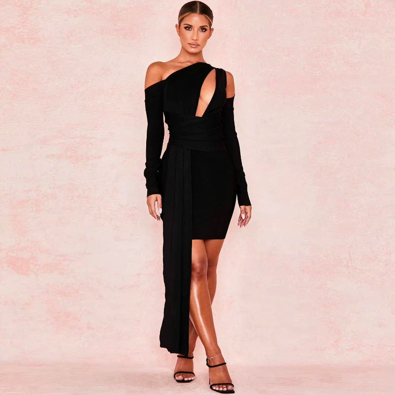 Sexy Black One Shoulder Cut Out Detail MIni Dress