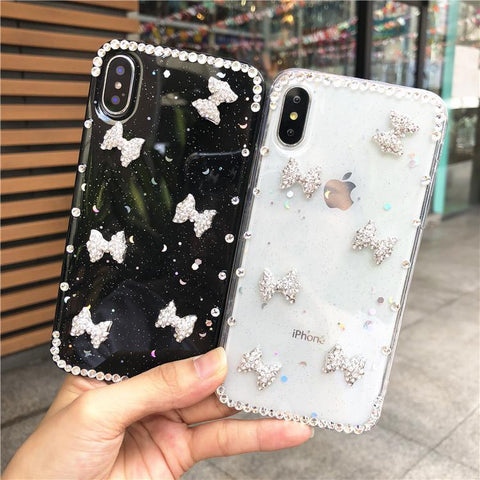 Little Bowknot Rhinestone Clear Transparent Phone Case for Samsung gallery 1