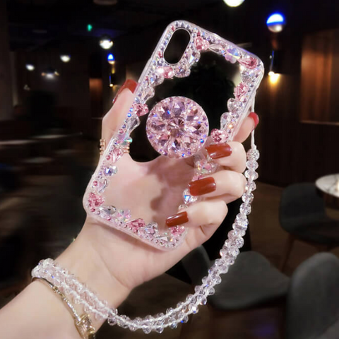 Glitter Crystal Stud Phone Case for Samsung with Phone Holder and Hand Strap gallery 4