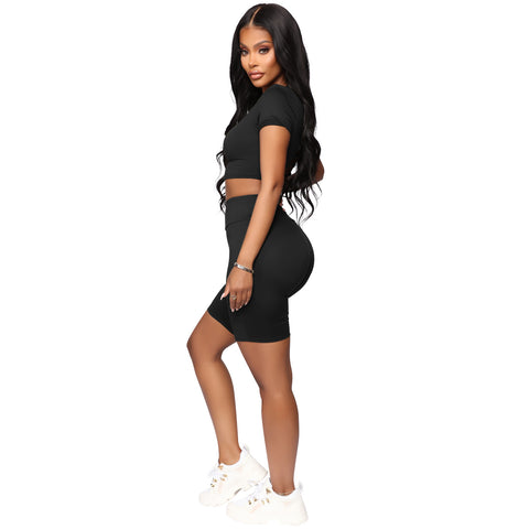 Round Neck Lace-Up Back High Waist Cropped Top & Short Set gallery 9