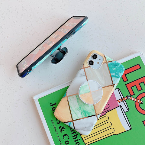 Rhombus Stitching Marble Phone Case for Samsung with Phone Holder gallery 14