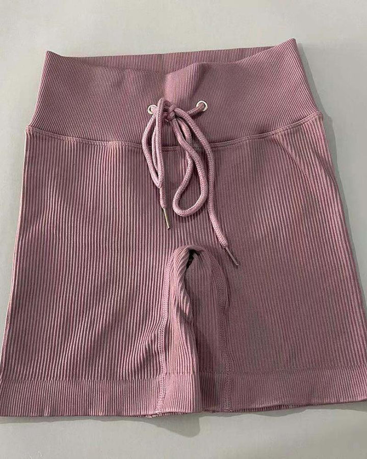 Solid High Waist Drawstring Front Sports Shorts gallery 7