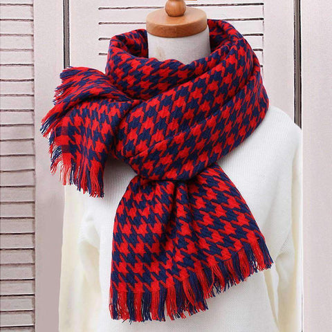 Classic Long Check Scarf With Frayed Edges For Men And Women, Unisex Faux Cashmere Plaid Muffler gallery 10